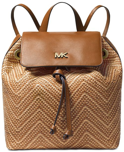 965ee33a1b7d Michael Kors Junie Chevron Leather Flap Backpack & Reviews ...