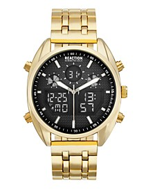 Men's Analog-Digital Gold-Tone Stainless Steel Bracelet Watch 45mm