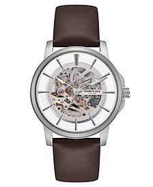 Kenneth Cole New York Men's Brown Leather Strap watch with Skeleton Automatic Dial, 43MM
