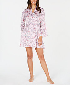 I.N.C. Satin Printed Flounce Wrap Robe, Created for Macy's