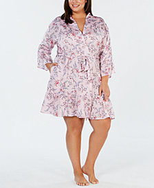 I.N.C. Plus Size Satin Printed Flounce Wrap Robe, Created for Macy's