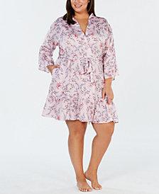 I.N.C. Plus Size Satin Printed Flounce Wrap Robe, Created for Macy's