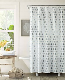 Tommy Bahama Pineapple Pinstripe 100% Cotton Shower Curtain