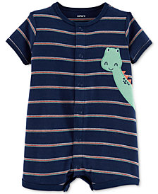 Carter's Baby Boys Striped Dinosaur Cotton Romper
