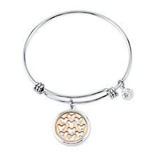 Two-tone Crystal Mickey Mouse Glass Shaker Adjustable Bangle Bracelet in Stainless Steel for Unwritten