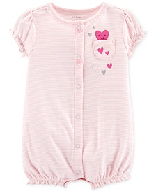 Carter's Baby Girls Striped Heart Romper