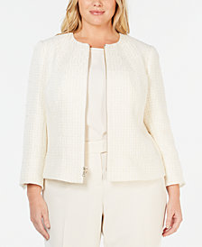 Anne Klein Plus Size Zip Front Tweed Jacket