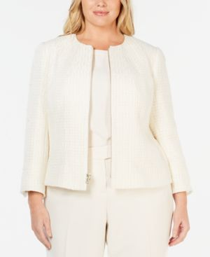 Image of Anne Klein Plus Size Zip Front Tweed Jacket