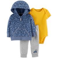 Carter's Baby Boys 3-Piece Cotton Hoodie (Bodysuit & Jogger Pants Set)