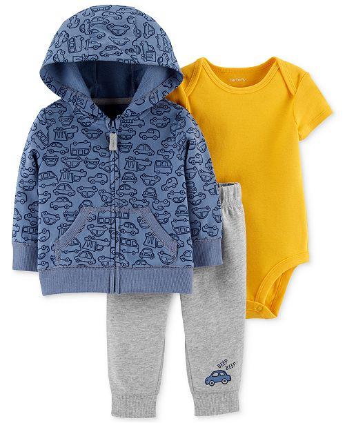 Carter's Baby Boys 3-Pc. Cotton Hoodie, Bodysuit & Jogger Pants Set