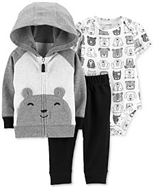 Carter's Baby Boys 3-Pc. Cotton Bear Hoodie, Bodysuit & Jogger Pants Set