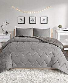 Intelligent Design Jensen King Reversible Sherpa To Softspun Flannel 3-Piece Comforter Mini Set