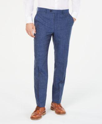 Men's Classic/Regular Fit Indigo Textured Dress Pants