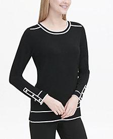 Calvin Klein Contrast-Piped Crewneck Sweater