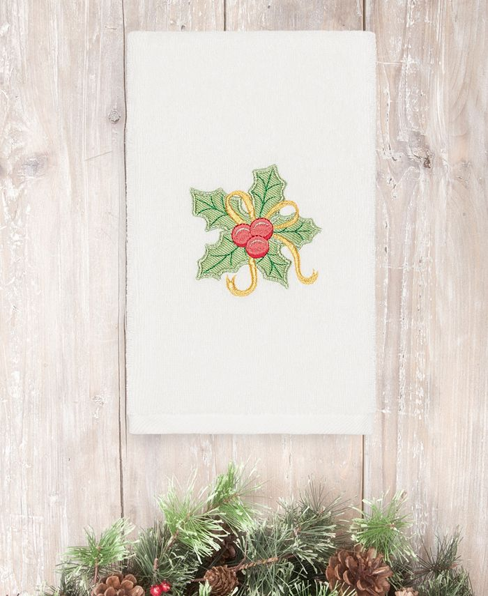 Linum Home - Textiles Christmas Holly Bunch - Embroidered Luxury 100% Turkish Cotton Hand Towel