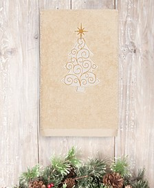 Christmas Tree Scroll 100% Turkish Cotton Hand Towel