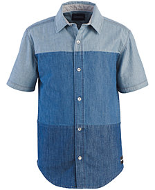 Calvin Klein Big Boys Solid-Stack Cotton Shirt