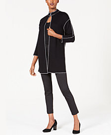 Anne Klein Nehru Piped Long Cardigan