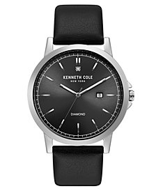 Kenneth Cole New York Men's Diamond Black Strap Watch 44mm