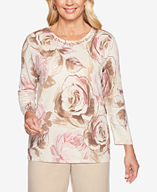 Alfred Dunner Home For The Holidays Embellished Shimmer Roses Sweater