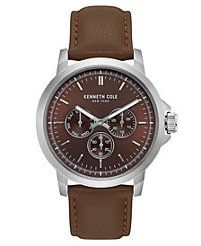 Kenneth Cole New York Men's Multifunction Brown Leather Strap Watch 43mm