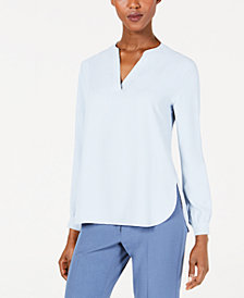 Anne Klein Split-Neck Top