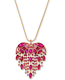 "Betsey Johnson Gold-Tone Crystal Fringe Heart Pendant Necklace, 32"" + 3"" extender"