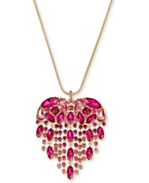 4ddb401b7275 Betsey Johnson Gold-Tone Crystal Fringe Heart Pendant Necklace