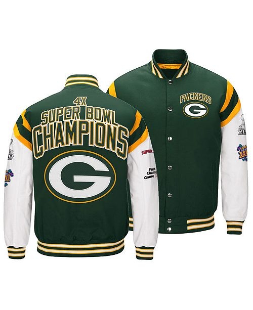 info for 26382 190e9 Men's Green Bay Packers Home Team Varsity Jacket