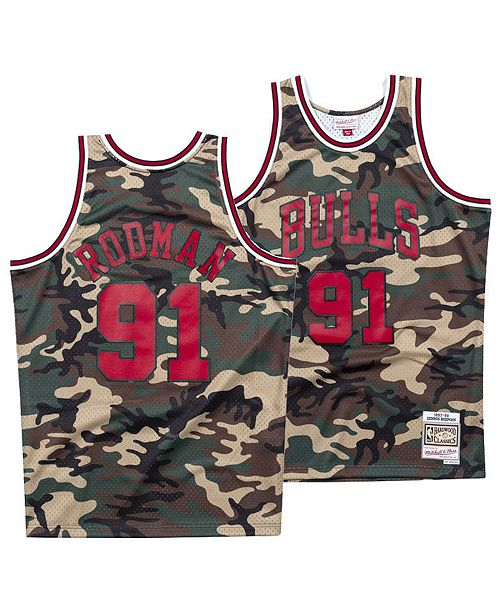 new products e6b47 d22e0 Men's Dennis Rodman Chicago Bulls Woodland Camo Swingman Jersey
