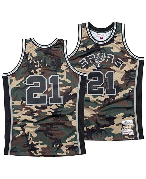 best service 2baaa 2660c Men's Tim Duncan San Antonio Spurs Woodland Camo Swingman Jersey