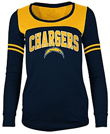 Women's San Diego Chargers Sleeve Stripe Long Sleeve T-Shirt