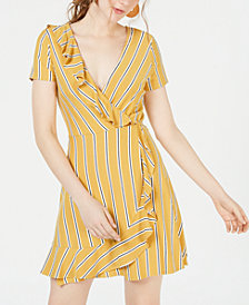 Speechless Juniors' Striped Ruffle Wrap Dress