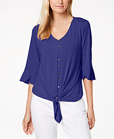 NY Collection Petite Tie-Hem Bell-Sleeve Top