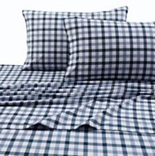 Tribeca Living 200-GSM Micro Plaid Printed Extra Deep Pocket Flannel King Sheet Set