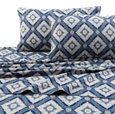 Tribeca Living Flannel 200-Gsm Damask Printed Extra Deep Pocket Full Sheet Set