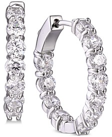 Cubic Zirconia In & Out Large Small Hoop Earrings  s in Sterling Silver