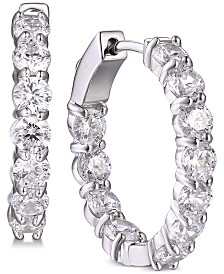 Tiara Cubic Zirconia In & Out Large Hoop Earrings in Sterling Silver