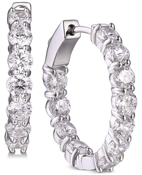 Tiara Cubic Zirconia In & Out Large Small Hoop Earrings  s in Sterling Silver