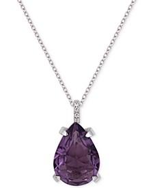 "Cubic Zirconia Teardrop 18"" Pendant Necklace in Sterling Silver"