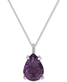 "Tiara Cubic Zirconia Teardrop 18"" Pendant Necklace in Sterling Silver"