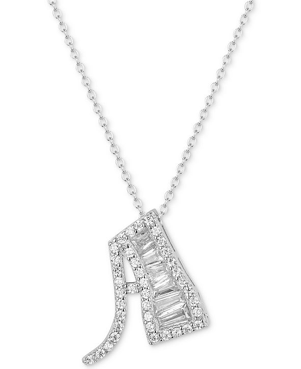 """Tiara Cubic Zirconia Initial 18"""" Pendant Necklace in Sterling Silver"""
