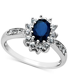 Sapphire (1 ct. t.w.) & Diamond (5/8 ct. t.w.) Ring in 14k White Gold