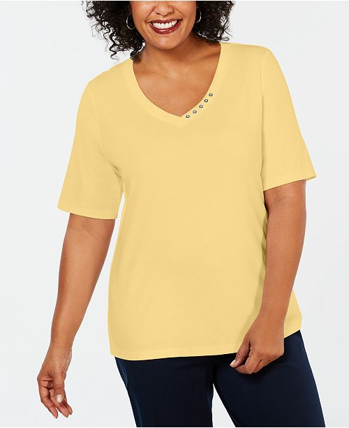 962ef13eb587ff ... Karen Scott Plus Size Cotton V-Neck Top, Created for Macy's ...