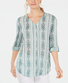 Style & Co Printed Roll-Tab Shirt, Created for Macy's