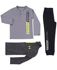 Under Armour Little Boys 1/4-Zip Lockdown Shirt, Henley T-Shirt & Jogger Pants