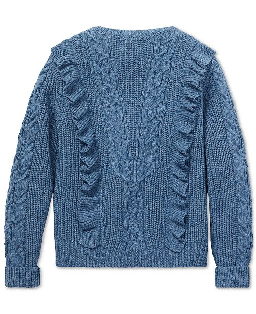 483f3cbb7647 Polo Ralph Lauren Big Girls Ruffled Aran-Knit Cotton Sweater ...