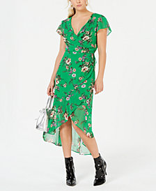 City Studios Juniors' Printed Ruffled Wrap Dress