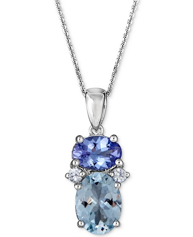 "Macy's Multi-Gemstone 18"" Pendant Necklace (2-1/5 ct. t.w.) in 10k White Gold"