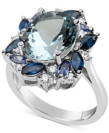 Multi-Gemstone (5-9/10 ct. t.w.) & Diamond (1/5 ct. t.w.) Ring in 14k White Gold